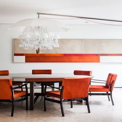 Small Modern Dining Room With Orange Colors And Pretty Lamp With - Karbonix