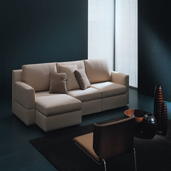 Sofa Bed Creme Brown For Modern Apartment Living Room Interior - Karbonix
