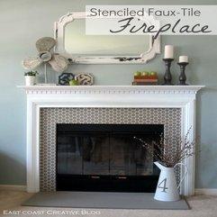 Stenciled Faux Tile Fireplace Tutorial East Coast Creative Blog - Karbonix