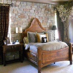 Stone Wall Rustic Bedroom - Karbonix