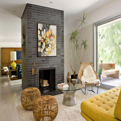 Stone Wall Under Artistic Painting In Space Fireplace - Karbonix