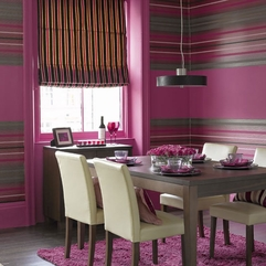 Striking Dining Room Idea With Shocking Striped Pink Fancy Paint - Karbonix