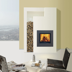 Striking White Panel Color Double Sided Fireplace Indoor Gas - Karbonix