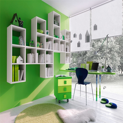 Study Space With White Shelving In Green - Karbonix