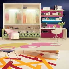 Teen Bedroom Wardrobe With Colorful Carpet Equipped Study Desk - Karbonix