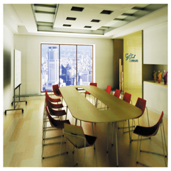 Themed Office Meeting Room Design With Wooden Round Table Modern White - Karbonix