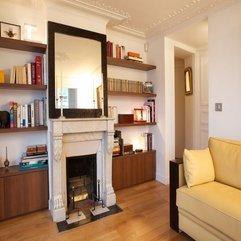 Under Mirror Wooden Bookshelf White Fireplace - Karbonix