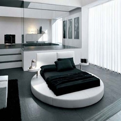 Unique Round Bed And Large Mirror Make Combined In Black And White - Karbonix