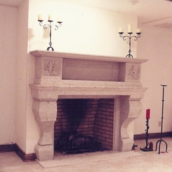 Utrata Basement Fireplace Old World Stone Carving - Karbonix