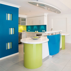Vibrant Kitchen House Design With Blue Green Color Combination Funky - Karbonix