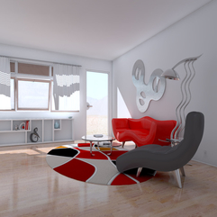Wall Living Room Interior Design With Unique Rug White Painted - Karbonix