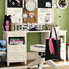White Desk With Green Decoration In The Bedroom Looks Girly - Karbonix