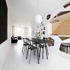 White Dining Kitchen Living Black Accents Open Design - Karbonix