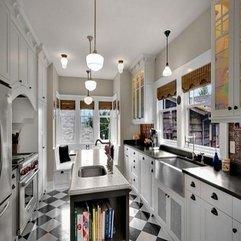 White Kitchen Flooring Checkered Black - Karbonix