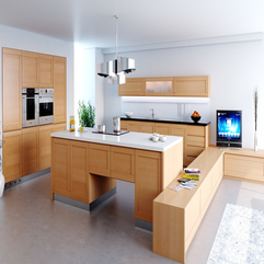 White Kitchen With Wooden Kitchen Furniture And Applainces Modern Style - Karbonix