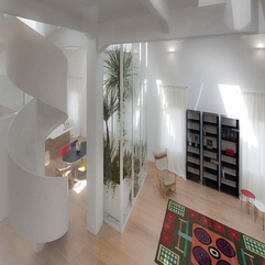 White Living Room Seen From Upper Home Level Minimalist Bright - Karbonix
