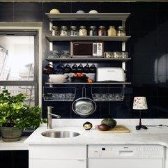White Open Shelving Small Kitchen Dark - Karbonix