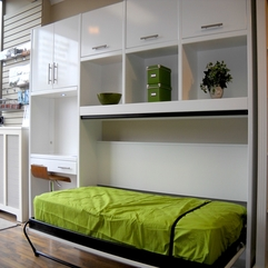 White Side Modular Shelving Unit With Green Foldable Bed Glossy - Karbonix