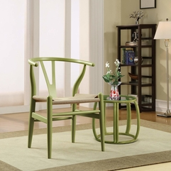 Wishbone Chair And Table With Chic Floor Lamp And Soft Carpet - Karbonix
