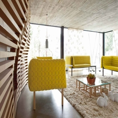 Wood Wall Yellow Sofa - Karbonix