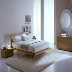 Wooden Bed On White Rug Modern Italian - Karbonix