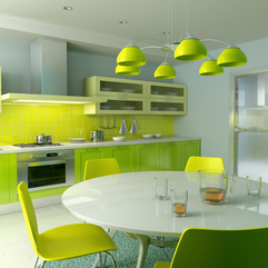 Yellow Chandelier With White Round Dining Table Green Kitchen Cabinet In Green - Karbonix